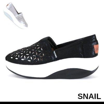 女款 SNAIL 雷射雕花水鑽側邊縫線輕量厚底懶人鞋 休閒鞋 厚底鞋 Ovan