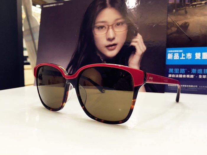 精光堂眼鏡 J'ADORE 雙色搭配設計紅色太陽眼鏡 流動的線條與堅硬材料搭配 讓眼鏡隨著臉的線條建立不同風格