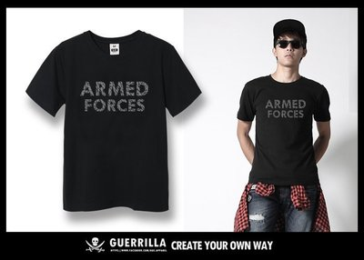 GUE - N61 - ARMED FORCE - 短T- BLACK