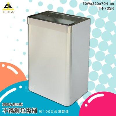 環保分類《鐵金鋼》112L不銹鋼垃圾桶(圓弧角,無內桶) TH-70SR 單分類 不鏽鋼垃圾桶 環保回收箱 清潔箱