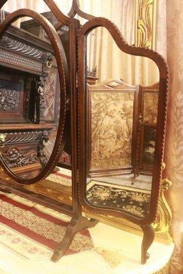 【家與收藏】特價稀有珍藏歐洲古董英國19世紀古典精緻珍貴手工老黑檀木Inlaid鑲嵌三面鏡/桌鏡5