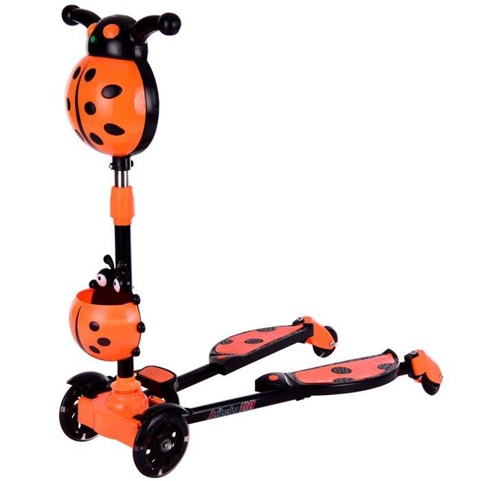 5Cgo【樂趣購】54280175120兒童剪刀車毛毛蟲滑滑車寶寶孩子蛙式四輪閃光音樂平衡車2-11歲滑滑車少兒滑板車