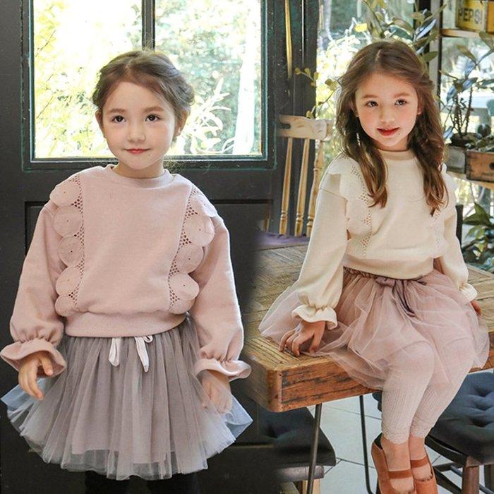 【小阿霏】兒童純棉上衣 女孩泡泡蕾絲排圓領T恤 女童優雅百搭春秋裝新款 可搭蓬蓬裙CL181