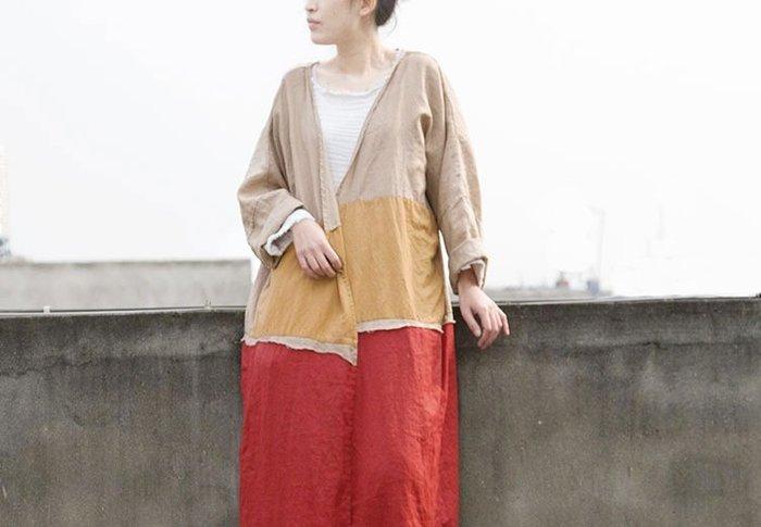 【子芸芳】拼色單層純苧麻寬鬆長開衫 春 薄外套