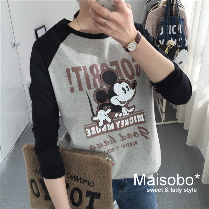 Maisobo 韓國單 卡通米奇拼色純棉圓領 長袖T恤 KK-20