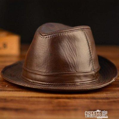 【栗家生活】紳士帽 冬季真皮帽子男士牛皮禮帽中老年人戶外皮帽子爵士帽紳士牛仔帽-免運費JUZZ-37742