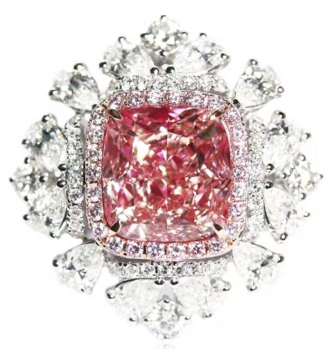 【台北周先生】天然Fancy粉紅色鑽石 7.02克拉 罕見巨大 18K金豪華美戒 送EGL證書