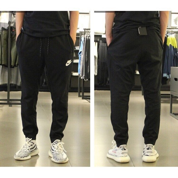 NIKE 爆款 耐吉休閒褲 束腳褲 鬆緊帶 慢跑褲 運動褲 鬆緊綁帶褲 黑 灰兩色