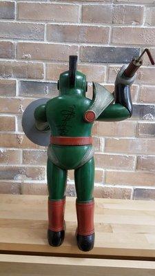 極罕見日本製老膠古玩無敵鐵金剛之原著作者永井豪親筆簽名反派K5機械獸