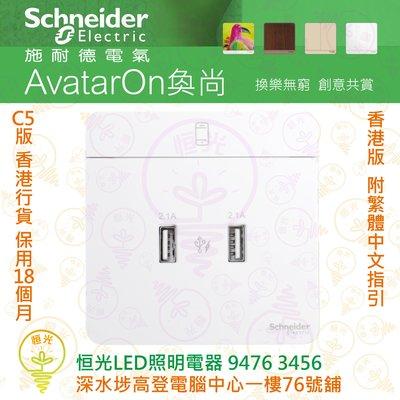 Schneider 施耐德 AvatarOn 奐尚 白色 兩位 2.1A USB充電插座 E8332USB_WE_C5 實店經營 香港行貨 保用18個月