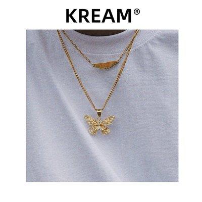 七七飾品店~Gold plated butterfly necklace 鍍金蝴蝶項鍊男嘻哈女鎖骨鍊
