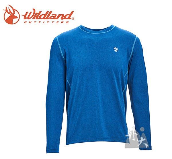 丹大戶外【Wildand】荒野 男圓領雙色抗UV長袖上衣 0A71650-46 土耳其藍