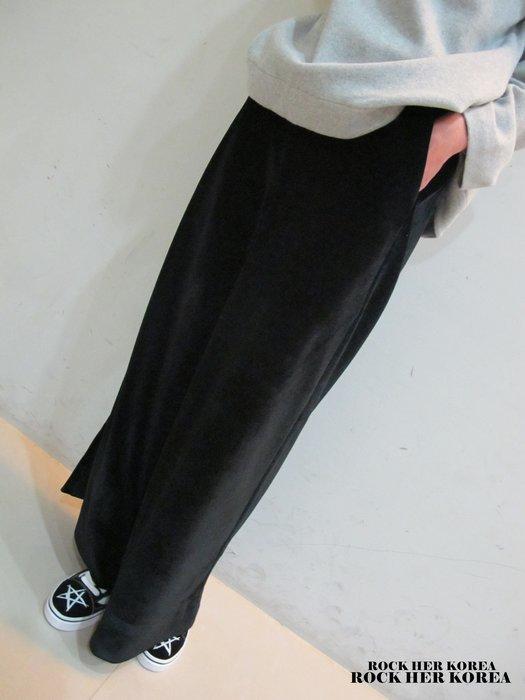 洛克高麗嚴選 正韓冬季設計款 毛絨料 高質感 腰一扣 伸縮腰圍 直筒喇叭褲