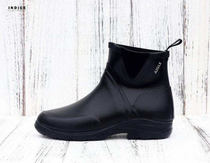 INDiCE ↗ AIGLE Daintree 經典手工中性短筒雨靴 法國製 深邃黑 男段