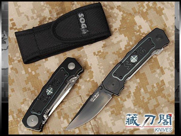《藏刀閣》SOG-(Bi-Polar)兩用救援半彈刀(黑刃)