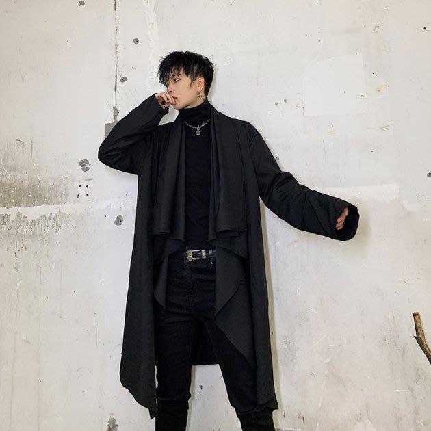 FINDSENSE 2019 秋冬上新 G19  黑色垂領寬鬆潮流風衣外套長大衣男裝百搭寬鬆休閒外套