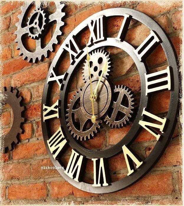 尼克卡樂斯~工業復古齒輪掛鐘50cm 圓形靜音時鐘 餐廳掛鐘 咖啡廳時鐘 客廳臥室掛鐘 咖啡廳時鐘 工業風掛鐘