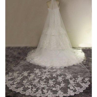新款韓式婚紗頭紗新娘複古車骨蕾絲3米超長拖尾軟頭紗—莎芭