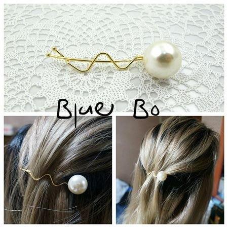 ~*BlueBo*~韓國進口 氣質單顆珍珠S夾 邊夾/香蕉夾/髮飾/ 髮夾