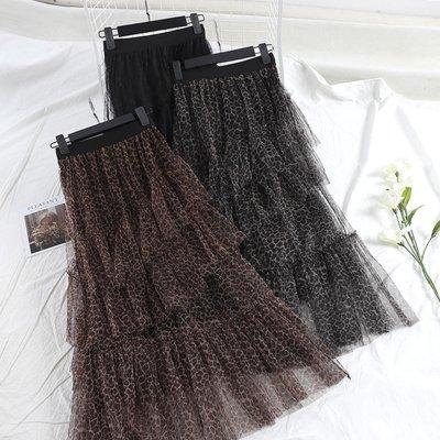 好物多商城 韓國東大門冬季新款超仙紗裙不規則波點豹紋網紗半身裙中長款A611