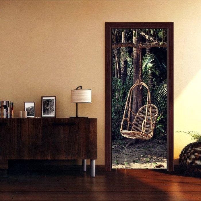 暖暖本舖 大森林3D吊椅 盪鞦圈椅 創意裝飾貼 房間門貼 書櫃壁貼紙 大門造景貼 防水門貼 裝潢貼紙 玄關貼 可訂製尺寸