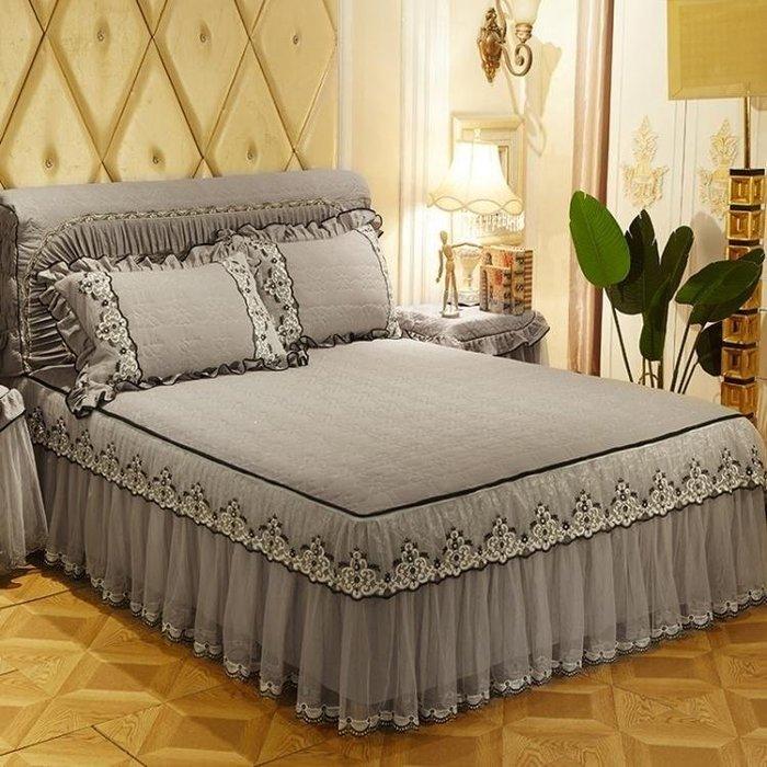 麥麥部落 床罩組歐式水洗舖棉蕾絲床裙式床罩單件可拆卸花邊紗加厚MB9D8