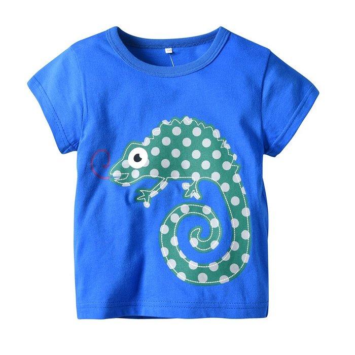 新款夏款潮上衣 男童 純棉T鱷魚印花圓領短袖T恤寶寶 兒童  女童 款