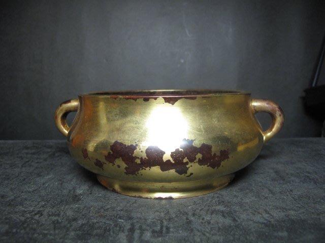 老銅爐 ◎  銅鎏金   蚰耳 圈足銅香爐 【在公家藏 款】
