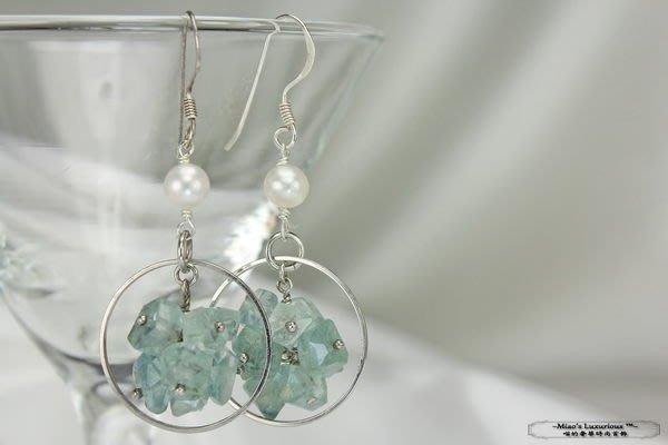 珍珠彩寶系列™-超特殊冰糖型天然海水藍寶+日本淡水珍珠純銀耳環-全球限量單一作品
