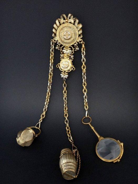 【家與收藏】特價極品珍藏博物館級歐洲百年古董19世紀法國精緻手工華麗K金白銀古董珠寶綴鍊 3