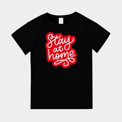 T365 台灣製造 CORONAVIRUS COVID-19 stay home 紅色 親子裝 童裝 T恤 TEE T