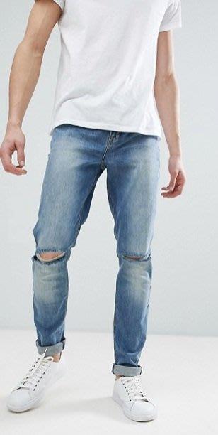 ◎美國代買◎ASOS藍刷白色雙膝刷破反摺褲口英倫時尚街風藍刷白色雙膝刷色合身牛仔褲~歐美街風~大尺碼