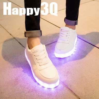 酷炫純色七彩絢麗發光LED情侶鞋帆布鞋小白鞋-白35-45【AAA0175】預購
