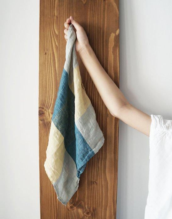 MH選物室 Lino e Lina 格紋 大色塊 暖色調 麻製 手巾 汗巾