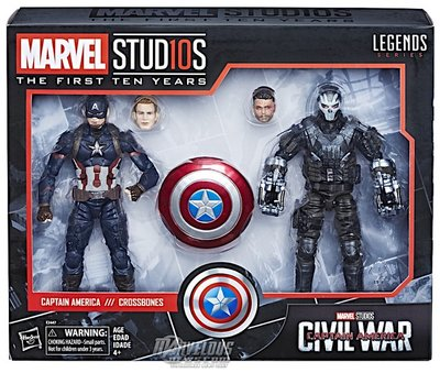 Marvel Legends Studios 10th CA3 Civil War Captain America & Crossbones 2 Pack