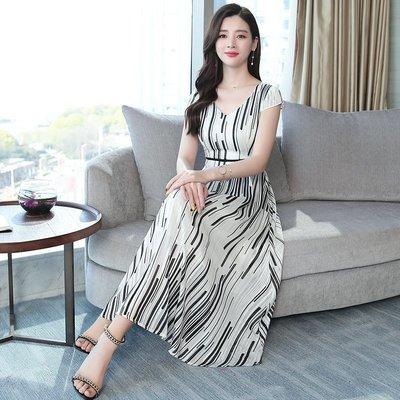 韓版 棉麻 大尺碼 連身裙 雪紡 寬鬆 條紋雪紡連衣裙女短袖流行夏天裙子小個子氣質大尺碼