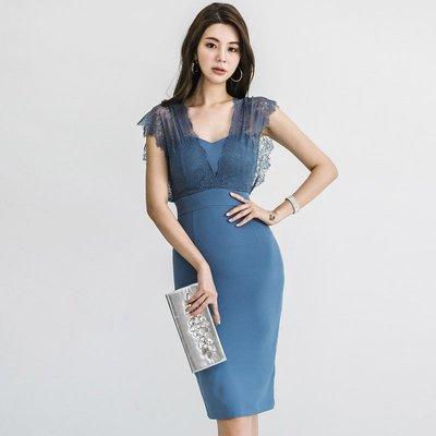 正韓 連身裙 名媛 上班族韓版女裝OL時尚 性感 V領無袖蕾絲拼接顯瘦 包臀連衣裙