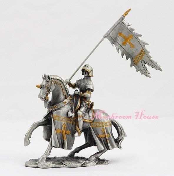 點點蘑菇屋{合金騎士擺飾}合金中古騎士(一)~手持長旗 鐵甲武士 歐洲中古世紀羅馬 盔甲武士 現貨
