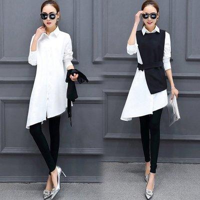 2017早春氣質兩件套襯衫韩版简约不规则拼接中长款衬衣马甲修身二件套连衣裙