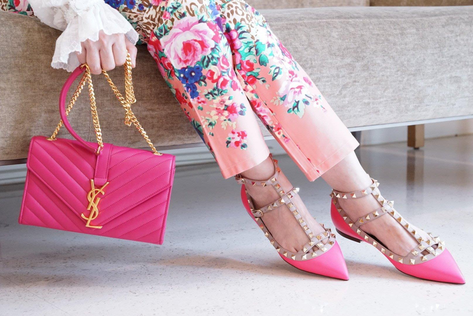 Valentino 汎倫鐵諾 Rockstud ballerinas 龐克卯釘牛皮 低跟鞋 螢光粉 36.5 現貨