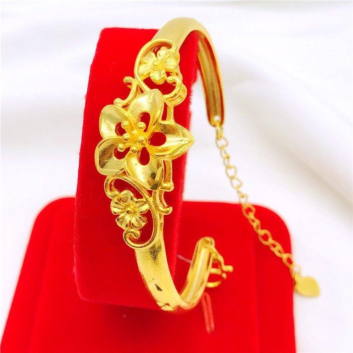 送禮佳品 銅鍍k金首飾 仿真金越南沙金手鐲女久不掉色花朵開口鐲子婚慶金飾