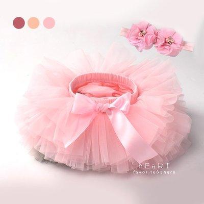 【可愛村】 攝影優雅蝴蝶結紗裙+髮帶套組 嬰兒攝影服飾 蓬蓬裙 表演服