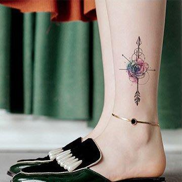 【萌古屋】玫瑰與箭 - 男女防水紋身貼紙原宿刺青貼紙 RC-167