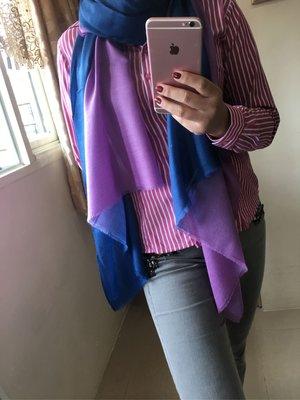 最後一件^^夢夢園-靛藍暈紫三色漸層SuperFine Shamina 超柔保暖高級小羔羊毛圍巾200*80cm