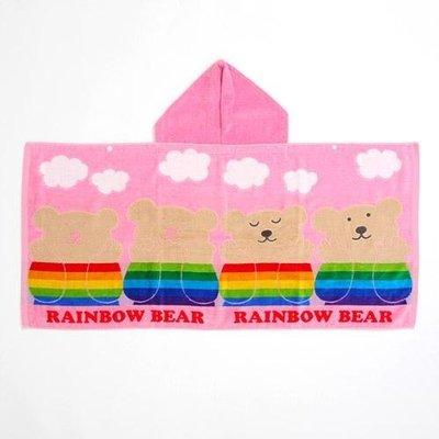尼德斯Nydus~* 日本正版 彩虹熊 Rainbow Bear 浴巾 連帽 浴袍 披巾 白雲款100%純棉-日本製