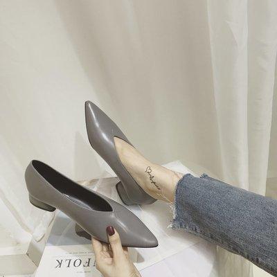 柒柒KR 正韓新款正韓尖頭軟皮復古奶奶鞋女粗跟小跟單鞋女3cm溫柔風中跟