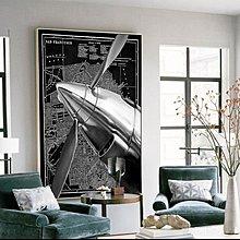 工業風飛機客廳裝飾畫簡約現代玄關書房走廊過道抽象掛畫酒店壁畫(2款可選)