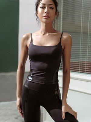 運動背心女跑步健身吊帶背心上衣緊身速乾訓練瑜珈性感夏季運動內衣--崴崴安