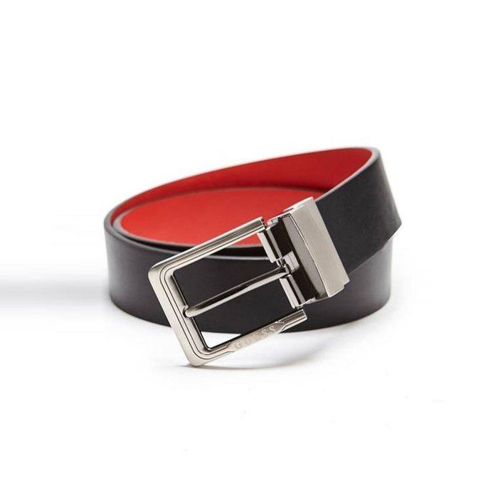 【GUESS】GUESS男款皮帶雙用紅黑配色 F03190412-16