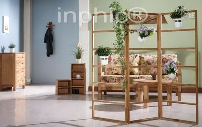 INPHIC-歐美簡約風格實木橡木三折屏風